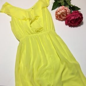Yellow Ruffle Trim Summer Dress